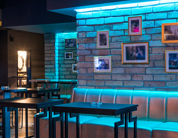Lounge with neon blue light