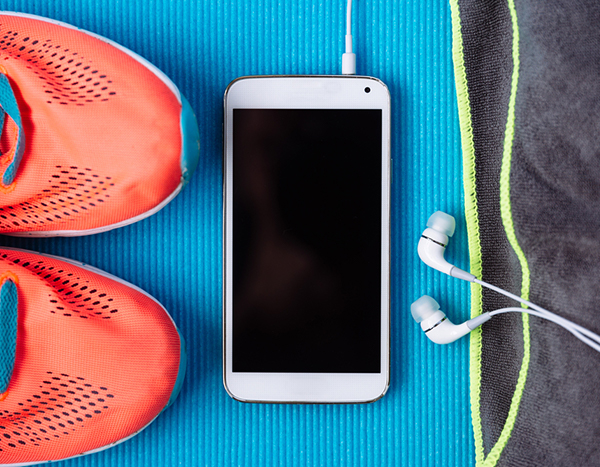 Workout shoes, phone, headphones