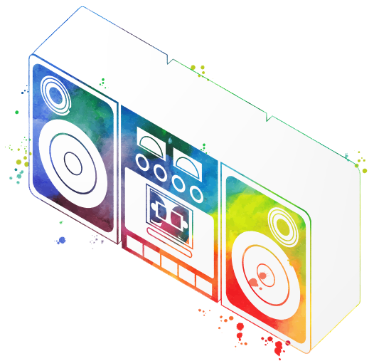 Boombox colorful graphic